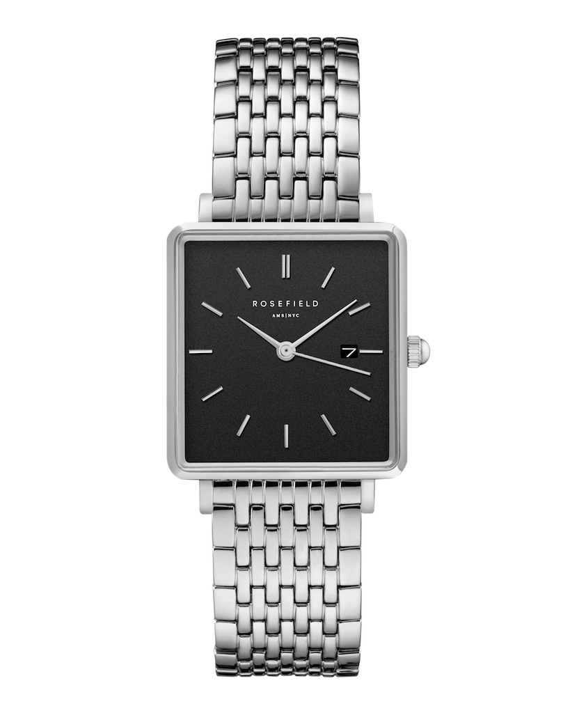 Rosefield-The Boxy Black Steel Silver-Watch-RF-QBSS-Q07-THE UNIT STORE