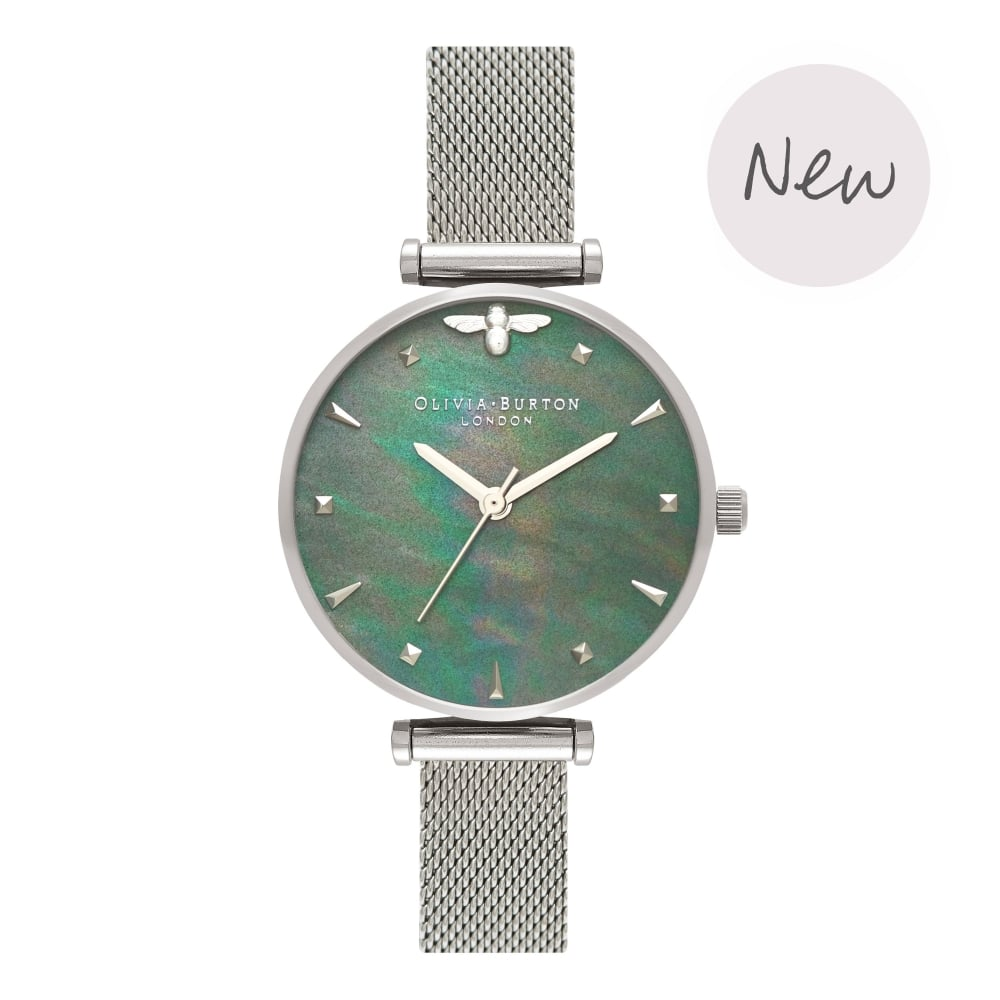OLIVIA BURTON-Queen Bee Blue Mother of Pearl Silver Mesh-Watch-OB16AM151-THE UNIT STORE