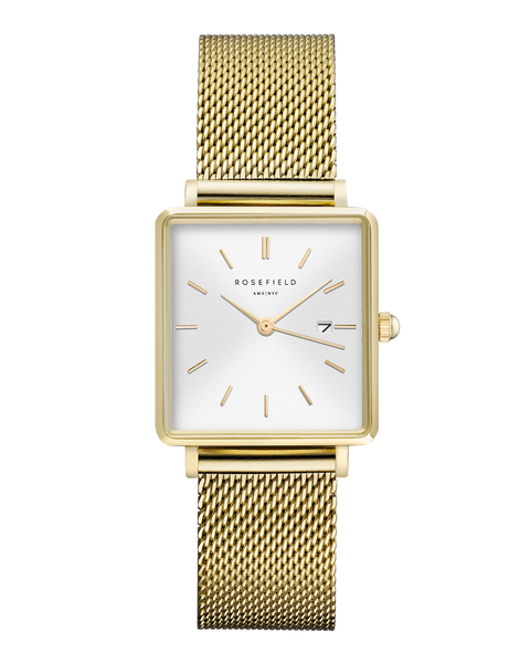 Rosefield-The Boxy White Sunray Mesh Gold-Watch-RF-QWSG-Q03-THE UNIT STORE