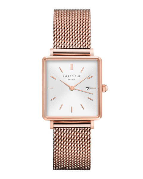 Rosefield-The Boxy White Sunray Mesh Rosegold-Watch-RF-QWSR-Q01-THE UNIT STORE