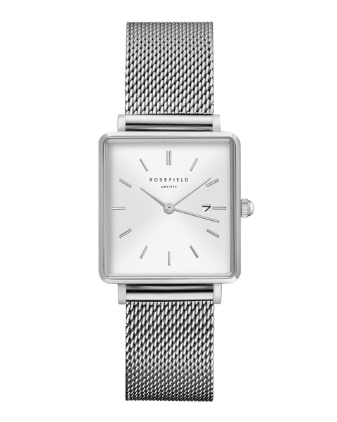Rosefield-The Boxy White Sunray Mesh Silver-Watch-RF-QWSS-Q02-THE UNIT STORE
