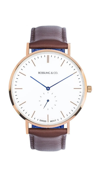 Rossling & Co.-Classic 40mm Rose Gold White Brown Leather-Watch-RO-001-015-THE UNIT STORE