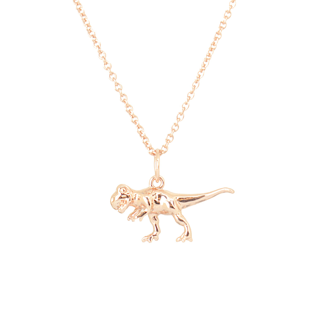 Cirque Poesie-3D Dinosaur Necklace Rosegold-Jewellery-CP-NL-DIN-RG-00-THE UNIT STORE