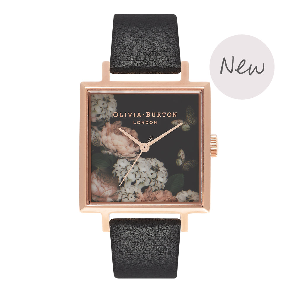 OLIVIA BURTON-Signature Florals Square Dial Black & RG-Watch-OB16WG27-THE UNIT STORE