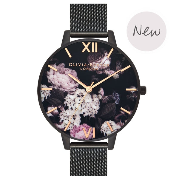 OLIVIA BURTON-Signature Florals IP Black Mesh-Watch-OB16AD35-THE UNIT STORE