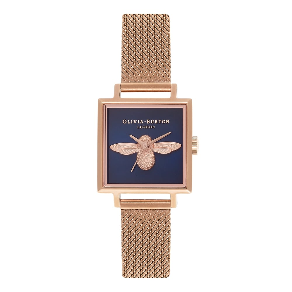 OLIVIA BURTON-Animal Motif Midnight Square Dial & RG Mesh-Watch-OB16AM96-THE UNIT STORE