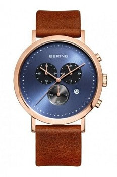 Bering-Classic Chrono Blue Sunray Dial RG Case Brown Strap-Watch-10540-467-THE UNIT STORE