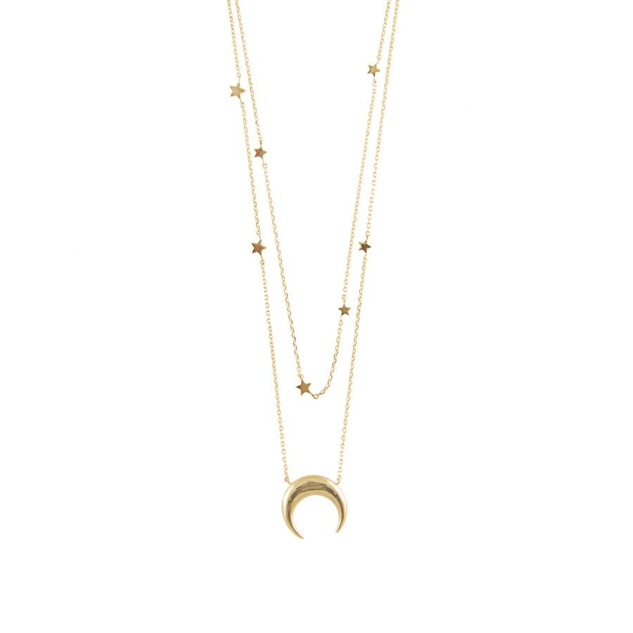Wanderlust + Co-Crescent Constellation Gold Layered Necklace-Jewellery-W-N475G-THE UNIT STORE