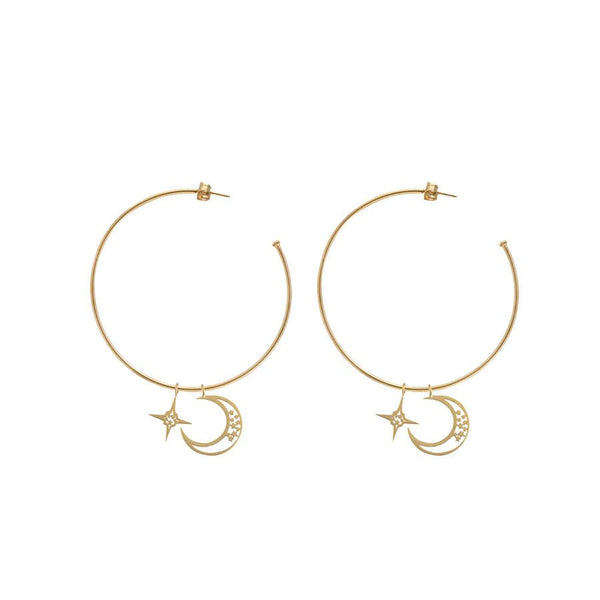 Wanderlust + Co-Celestial Charm Gold Hoop Earrings-Jewellery-W-E577G-THE UNIT STORE
