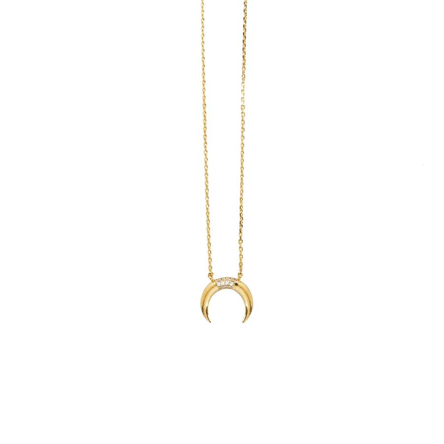 Wanderlust + Co-Luna Pave Gold Necklace-Jewellery-W-N477G-THE UNIT STORE