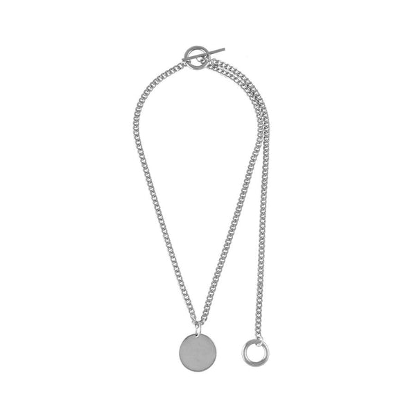 Wanderlust + Co Connect Circle Toggle Silver Necklace W-N620S