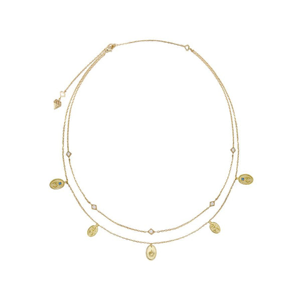 Wanderlust + Co-Reverie Gold Charms Necklace-Watch-W-N683G-THE UNIT STORE