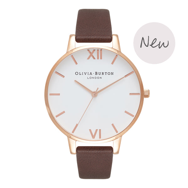 OLIVIA BURTON-White Dial Big Dial Chocolate & Rose Gold-Watch-OB16BDW32-THE UNIT STORE