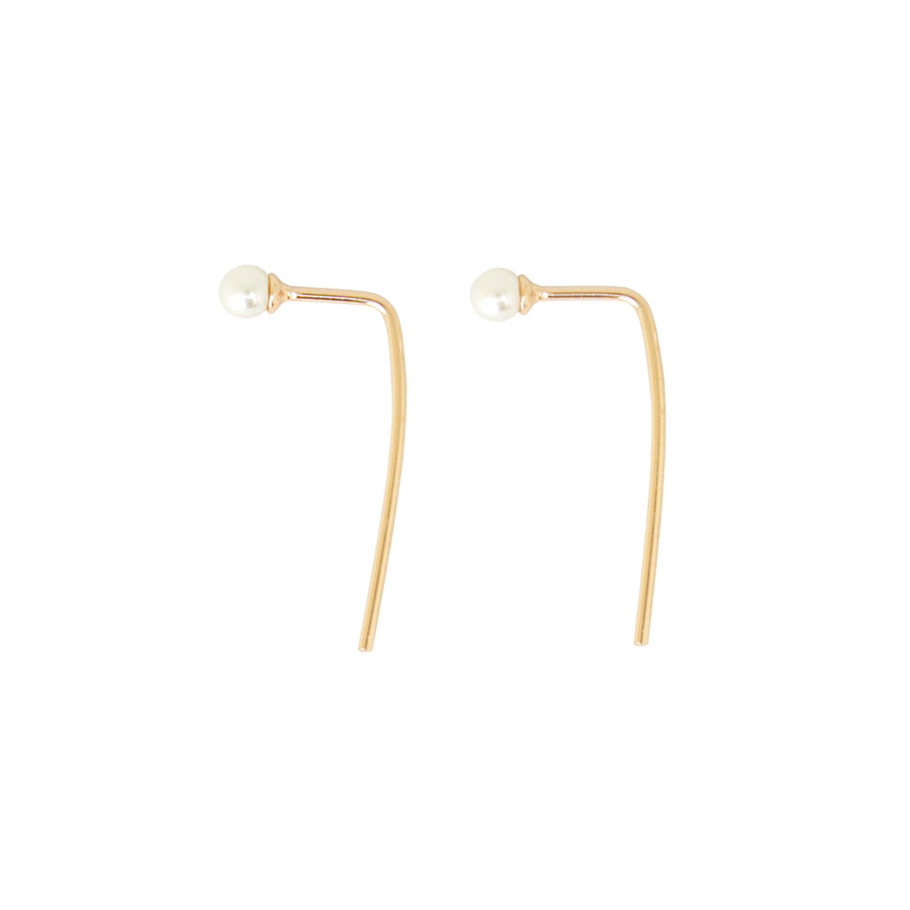 Pearl Wire Earrings Gold__Cirque Poesie_Jewellery_THE UNIT STORE