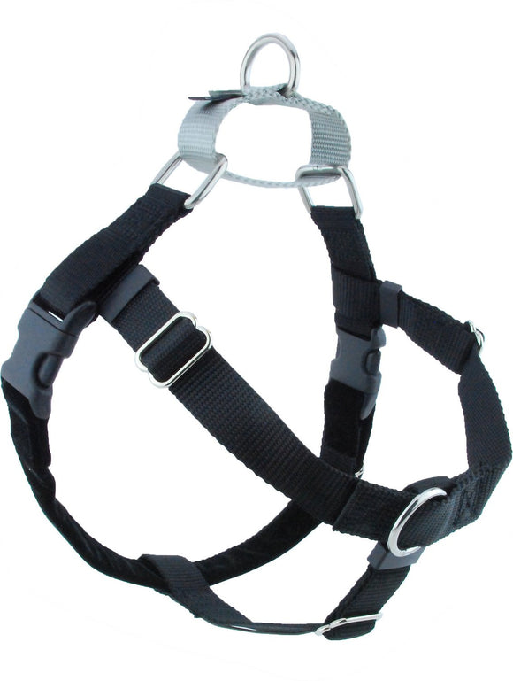 Freedom No Pull Harness (Black/Silver) - Dawn's Doggy Duds