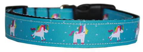 Mirage Pet Products Blue Unicorn Nylon Dog Collar