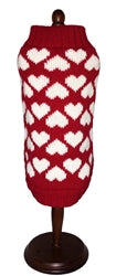 Dallas Dogs Ltd. Red w/White Hearts Dog Sweater