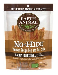 Earth Animal No Hide Venison Chews Dog Treats, 10 Pack Sticks
