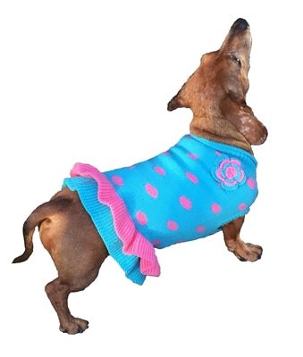Turquoise/Pink Polka Dot Party Dress - Dawn's Doggy Duds