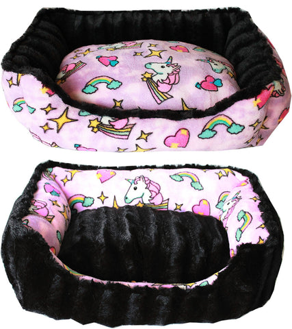 Mirage Pet Reversible Bumper Dog Bed-Pink Unicorn