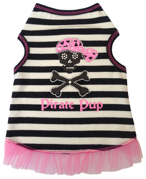 Pirate Pup Girl Tank Black/White Striped - Dawn's Doggy Duds