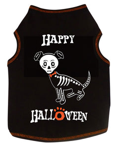 I See Spot Happy Halloween Skeleton Dog Tank - Black
