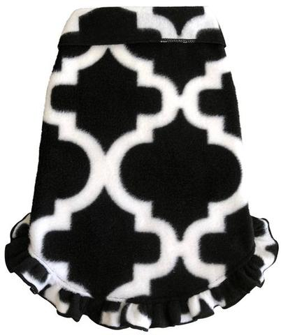 Trellis Print Pullover Black White - Dawn's Doggy Duds