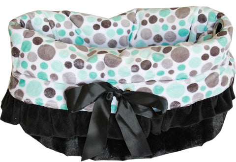 Aqua Party Dots Reversible Snuggle Bugs Pet Bed, Bag, and Car Seat