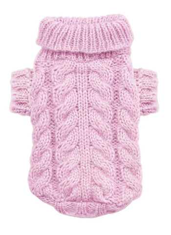 Hip Doggie Angora Cable Knit Dog Sweater-Pink