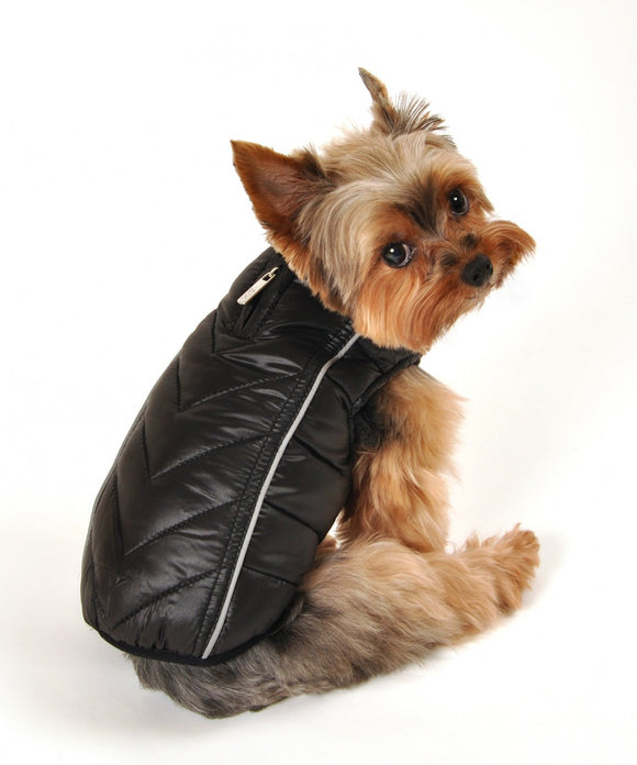 Featherlite Reversible-Reflective Puffer Vest Black/Red - Dawn's Doggy Duds