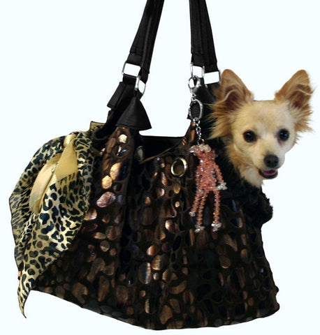 Mirage Pet Products Black with Animal Foil Run Around Pet Carrier Tote