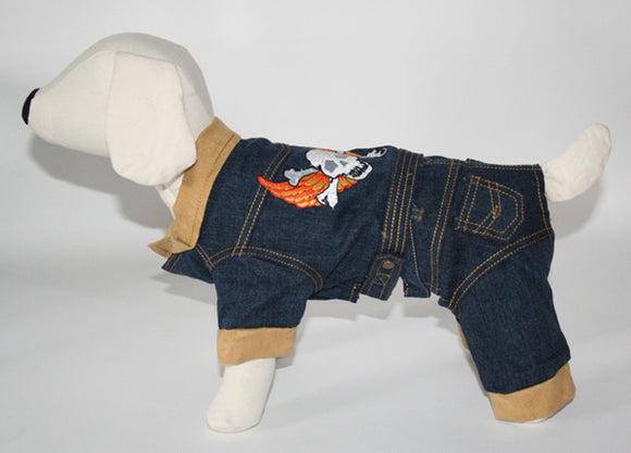 Puppe Love Denim Leather Dog Jacket & Pants Set