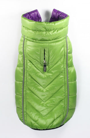 Featherlite Reversible-Reflective Puffer Vest Green/Purple - Dawn's Doggy Duds