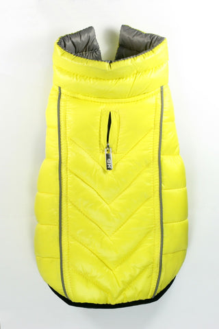 Featherlite Reversible-Reflective Puffer Vest Yellow/Grey - Dawn's Doggy Duds