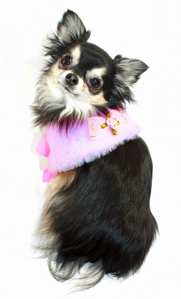 Hip Doggie Luxurious Fur Cape-Pink - Dawn's Doggy Duds