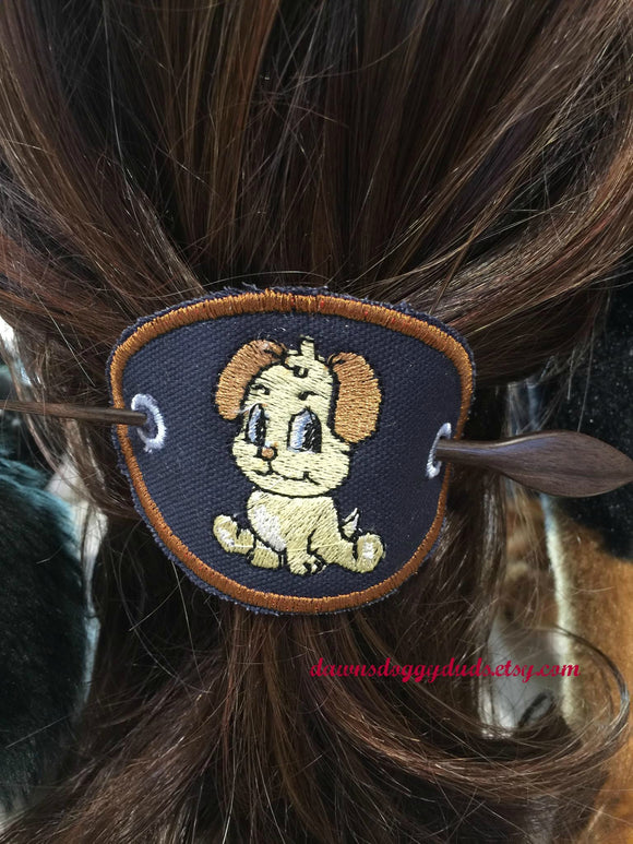 Navy Puppy Ponytail/Hair Holder - Dawn's Doggy Duds