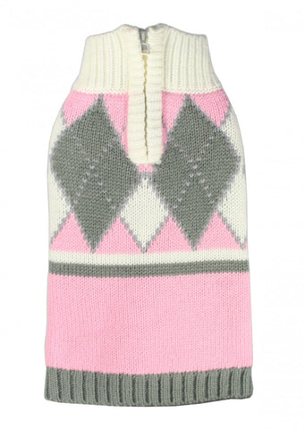 Argyle Sweater - Pink - Dawn's Doggy Duds
