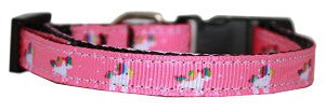 Mirage Pet Products Pink Unicorn Nylon Dog Collar