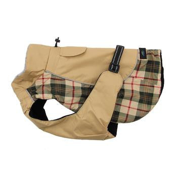 Doggie Design Alpine All-Weather Dog Coat-Beige Plaid