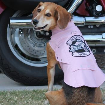 Doggie Design Biker Dawg Motorcycle Dog Jacket-Pink