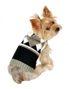 Hip Doggie Argyle Sweater - Gray - Dawn's Doggy Duds