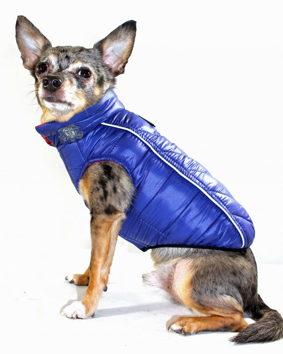 Featherlite Reversible-Reflective Puffer Vest Blue/Orange - Dawn's Doggy Duds