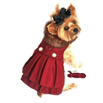 Doggie Design Wool Fur-Trimmed Dog Harness Coat - Burgundy