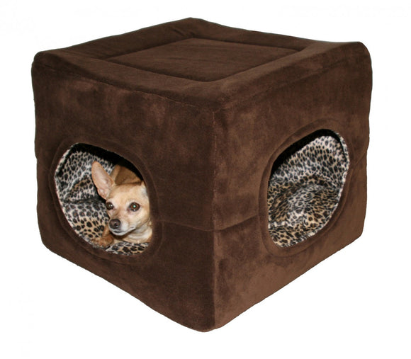 Hip Doggie Deluxe 2 Door Pop Tent-Chocolate Brown w/Cheetah Interior - Dawn's Doggy Duds
