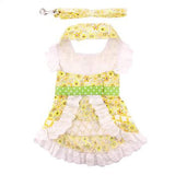 Emily Yellow Floral and Lace Dog Dress with matching Leash - Dawn's Doggy Duds