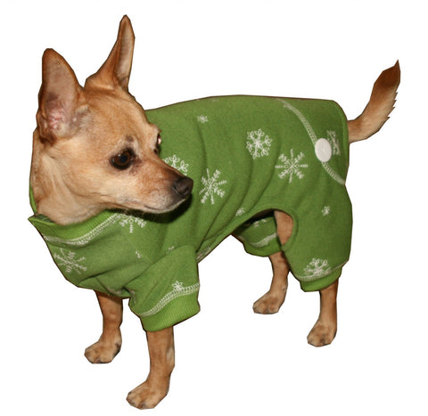 Hip Doggie Snowflake Dog Pajama Long Johns - Green