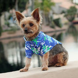 Hawaiian Camp Shirt - Ocean Blue and Palms - Dawn's Doggy Duds