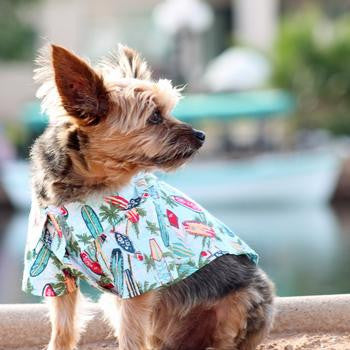 Hawaiian Camp Shirt - Surfboards and Palms - Dawn's Doggy Duds
