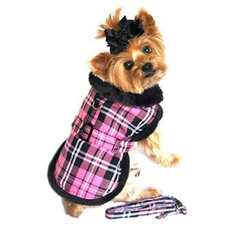 Doggie Design Hot Pink Plaid & Black Thick Fur Collar Harness Dog Coat