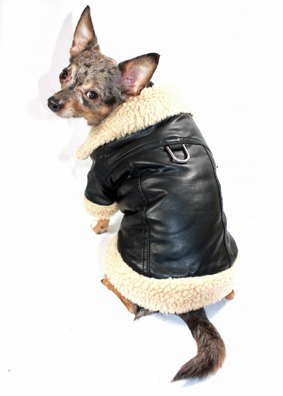Hip Doggie Classic Shearling Leatherette Coat - Dawn's Doggy Duds